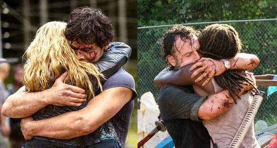 Bellamy and Clarke (The 100) & Rick and Michonne (The Walking Dead)
