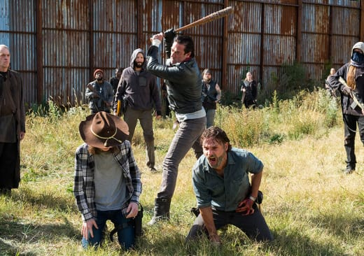 Negan swings away - The Walking Dead Season 7 Episode 16