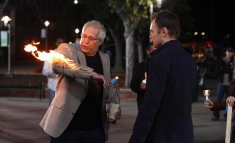 Pierce Lights Himself on Fire