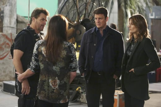Castle and Beckett on Set