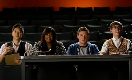 Mike, Mercedes, Finn and Artie