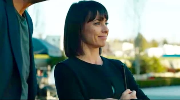 Quinn is all smiles on the field.  - UnREAL Season 3 Episode 6