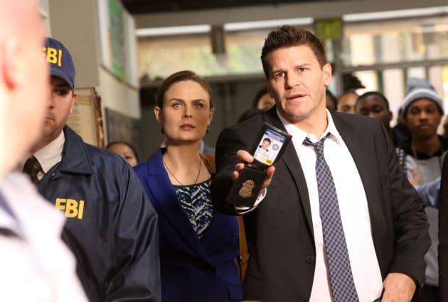 Booth Shows His Badge - Bones Season 10 Episode 12