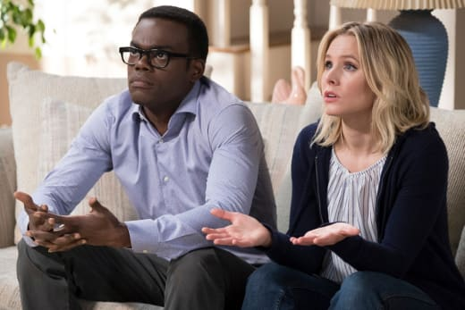 Eleanor and Chidi - The Good Place Season 2 Episode 2