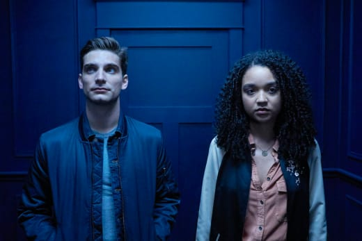 Jeff Ward as Seth and Aisha Dee as Jules - Channel Zero