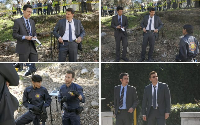 Aubrey and booth arrive at a crime scene bones s10e17