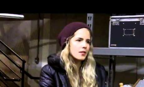 Emily Bett Rickards Set Interview