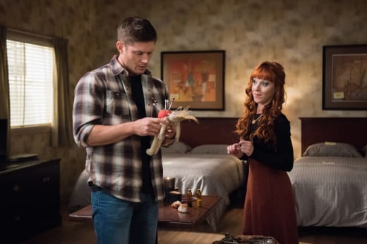 Rowena shows off her doll - Supernatural Season 12 Episode 11