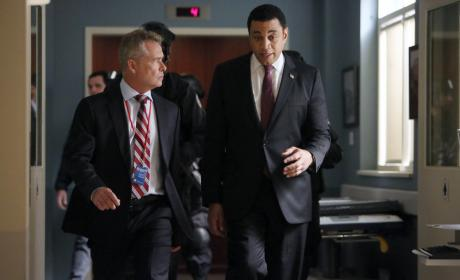 Harold and the head of security go on a walk-and-talk - The Blacklist Season 4 Episode 7