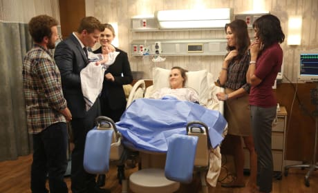 Hodgins, Booth, Brennan, Angela, and Cam Celebrate the Birth of Daisy and Sweets' Child - Bones Season 10 Episode 8