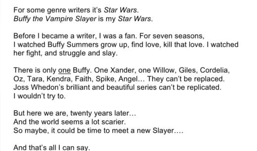 Buffy Tweet