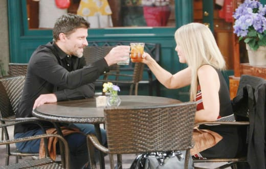 Eric and Jennifer Toast Their Date - Days of Our Lives