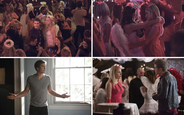 Steroline at a party the vampire diaries