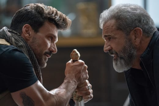 Frank Grillo and Mel Gibson in Boss Level