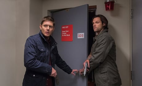 Sam and Dean disobey sign on door - Supernatural Season 12 Episode 5
