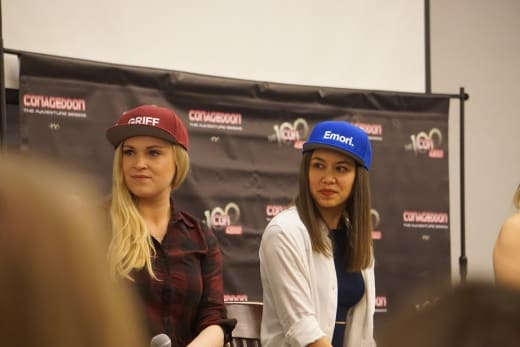 Eliza Taylor and Luisa D'Oliveira at Conageddon 2019 - The 100