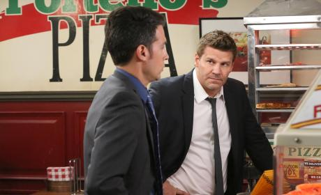 Booth and Aubrey Question Employees at a Pizza Parlor - Bones Season 10 Episode 22