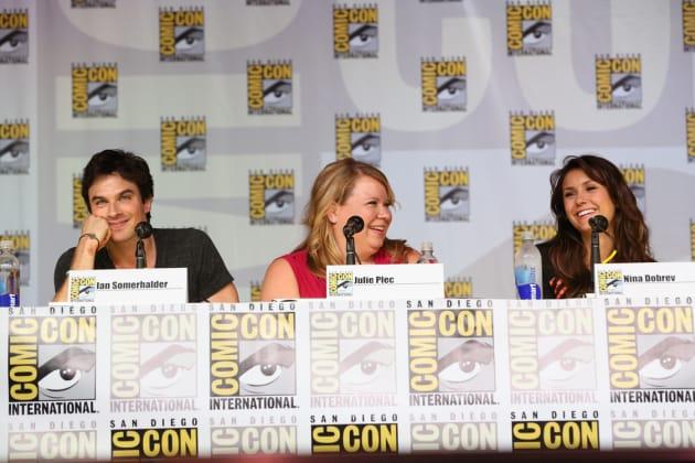 Ian Somerhalder, Nina Dobrev and Julie Plec