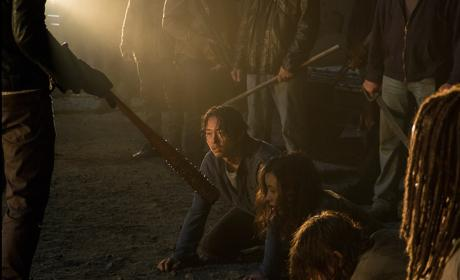 Glenn waits in line - The Walking Dead Season 7 Episode 1