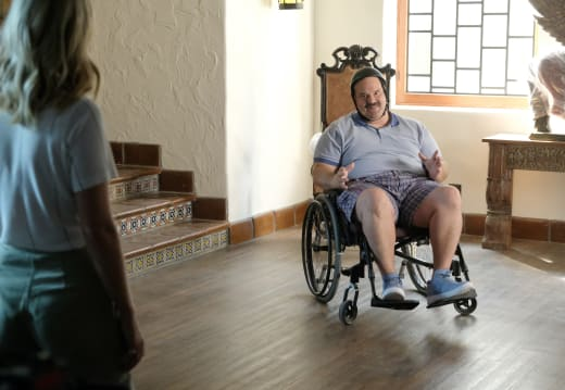 Todd in the wheelchair - The Last Man on Earth Season 4 Episode 5