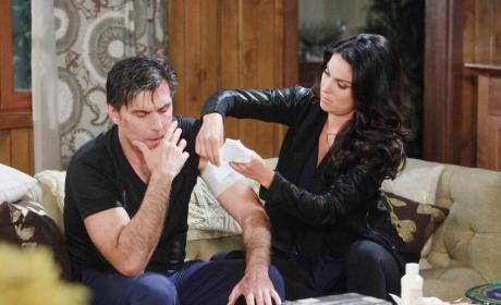 Chloe Bandages Deimos Wounds - Days of Our Lives