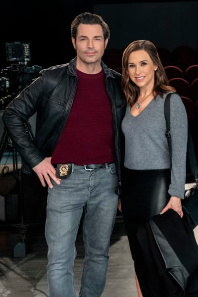 Brennan Elliott and Lacey Chabert for Crossword Mysteries