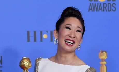 Sandra Oh Flaunts Her Golden Globe