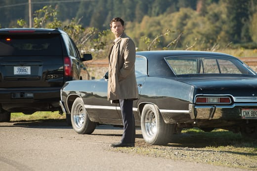 Castiel gazes fondly into the distance - Supernatural Season 12 Episode 8