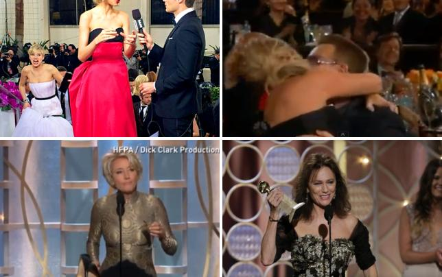 Jennifer lawrence golden globes photobomb