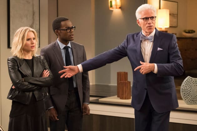 Eleanor, Chidi, and Michael - The Good Place Season 2 Episode 1