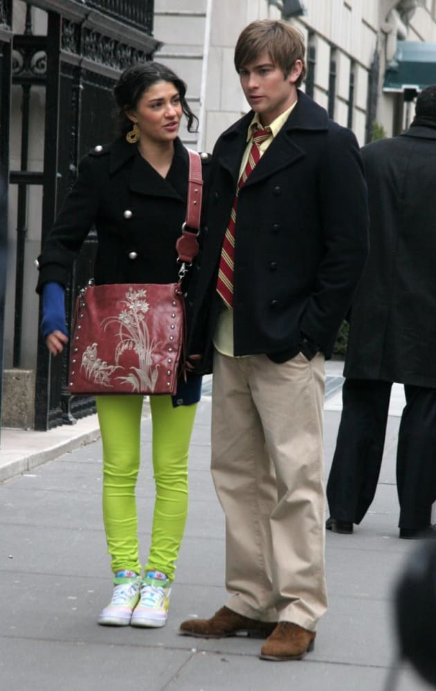 gossip girl pictures from the set  nate and vanessa