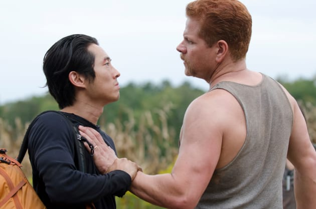 Steven Yeun and Michael Cudlitz in The Walking Dead
