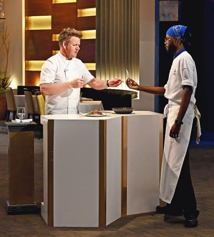 Steven Presents to Gordon  - Hell's Kitchen Season 20 Episode 2