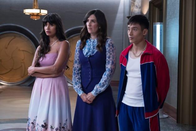 Tahani, Janet, and Jason - The Good Place Season 2 Episode 13