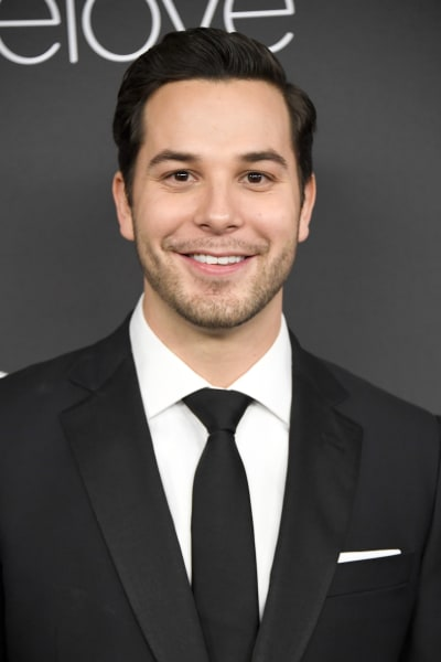 Skylar Astin Attends Golden Globes Party