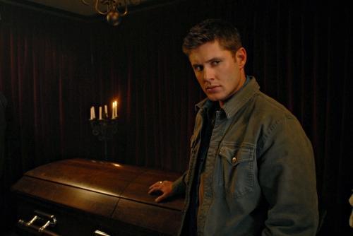 Dean Leans on a Casket
