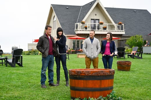 Two Couples Contemplate Wine Stomping - Good Witch Season 5 Episode 3