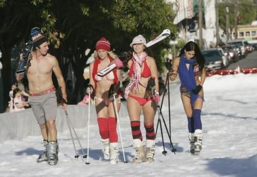 Skiing in Bikinis