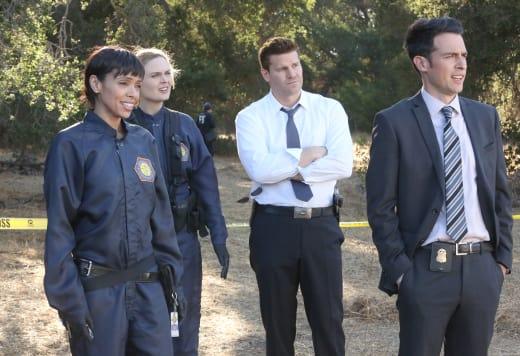 Cam, Brennan, Booth, and Aubrey Watch Hodgins Chase a Goat! - Bones Season 10 Episode 6