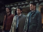 Sam, Dean and Castiel stand guard - Supernatural Season 12 Episode 23