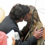 Ellen and Patrick Kiss on Set