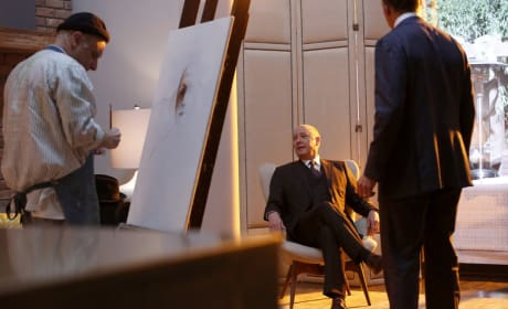Red takes a break with a portrait - The Blacklist Season 4 Episode 14