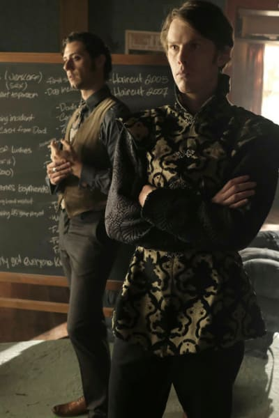 Eliot and Charlton in Front of Chalkboard - The Magicians Season 4 Episode 5