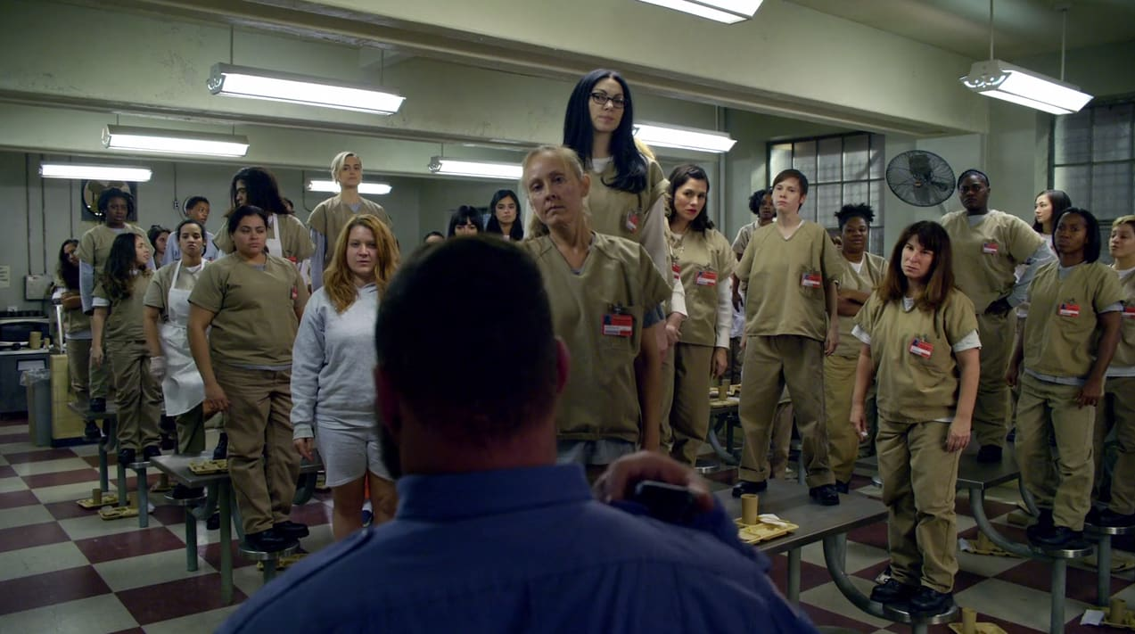 Image result for oitnb standing on tables the animals