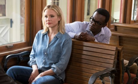 Eleanor and Chidi on the Train - The Good Place Season 2 Episode 10