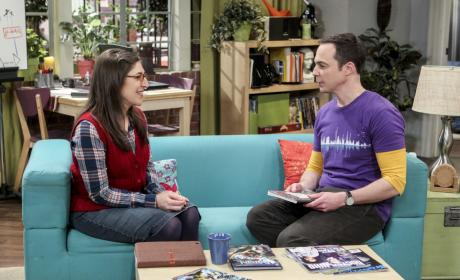Amy and Sheldon Chat on the Couch - The Big Bang Theory Season 10 Episode 19