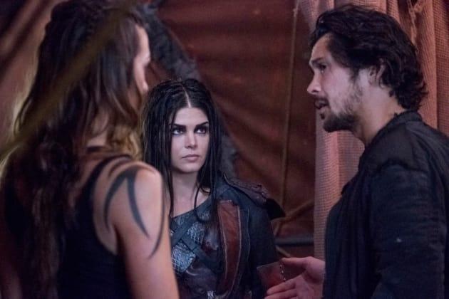 Octavia, Echo, and Bellamy Huddle  - The 100