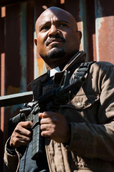 Gabriel At The Ready - The Walking Dead Season 8 Episode 1