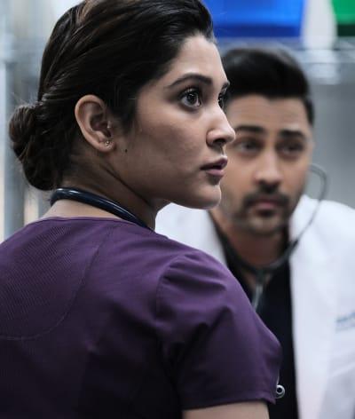 Leela and Devon - Tall - The Resident Season 4 Episode 10