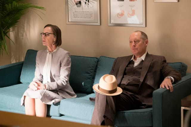 Red and Mr. Kaplan chilling out on the couch - The Blacklist Season 4 Episode 2